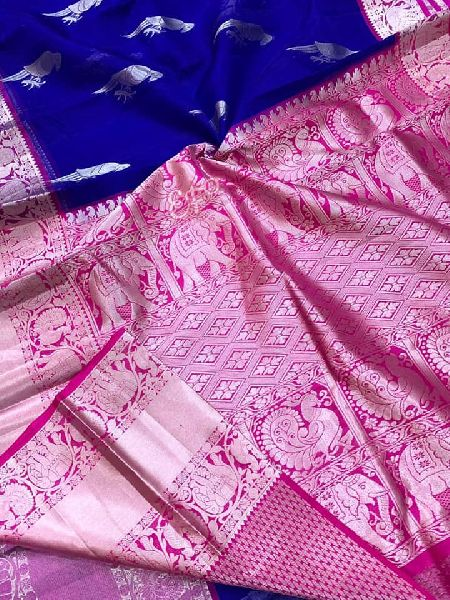 Pure Kanchi Kora Silk Sarees with silver weaving parrots and blouse