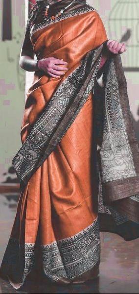 Pure tussar gicha screen print sarees