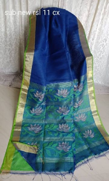 SILK BY LINEN JAMDANI WITH RESHAM SILK PALLU and Blouse piece