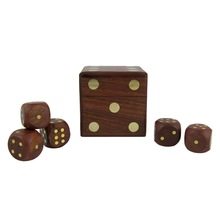 Wooden Game Dice Box