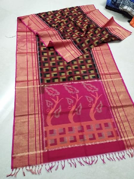 8 inch big border ikkat seiko sarees in pure silk with blouse