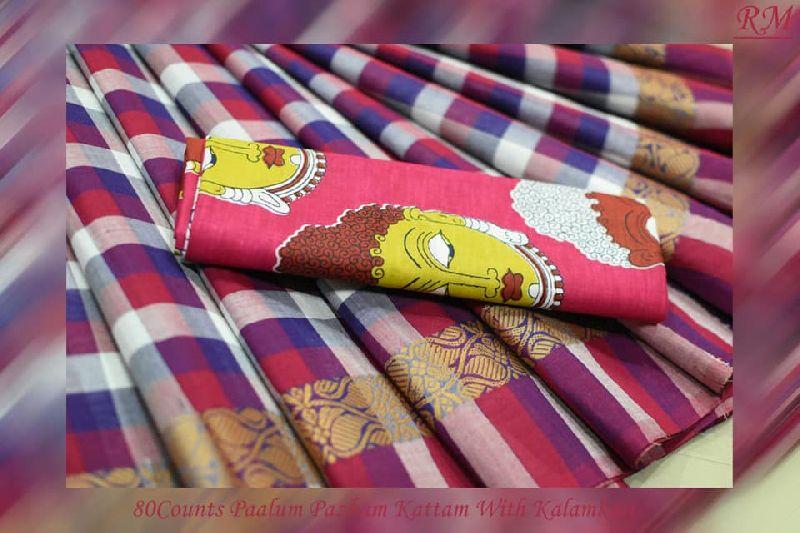 80 count paalum pazham kattam with kalamkari blouse