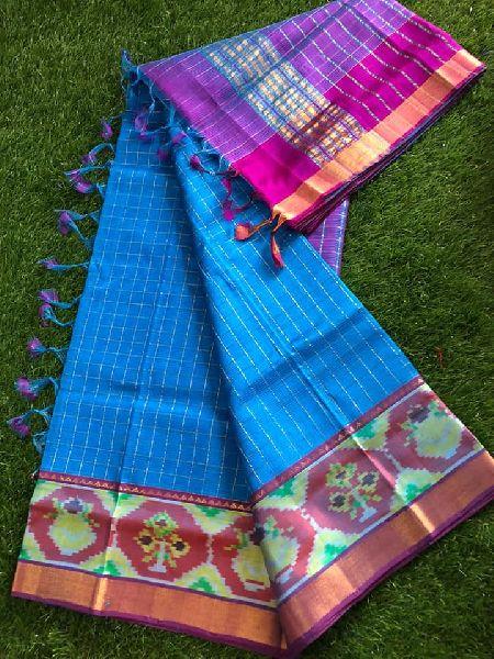 Pure handloom mangalagiri pattu pochampally border sarees with zari checks