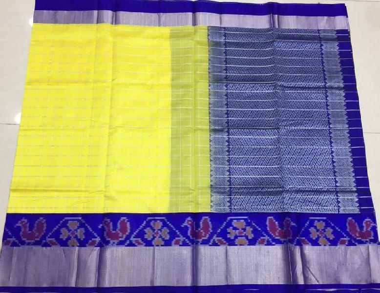 Pure kupppdam pattu sarees with silver checks and ikkat borders