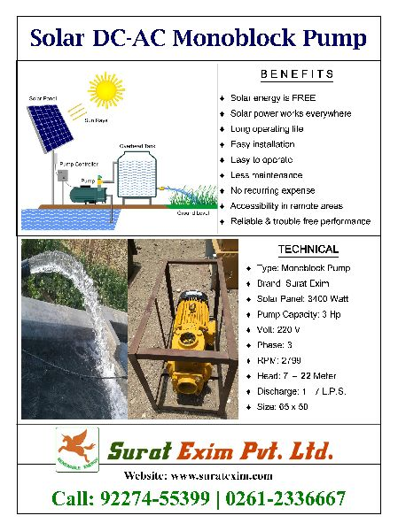 3Hp 220V 3 Phase Solar Monoblock Pump