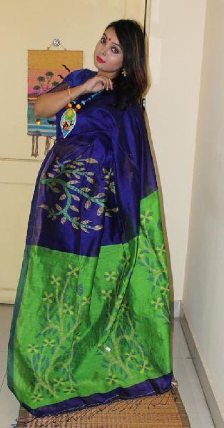 contrast pallu Handloom matka sarees