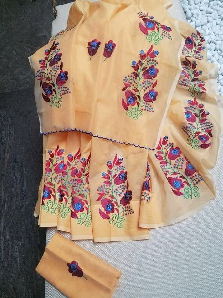 Heavy embroidery on soft Kota sarees with blouse