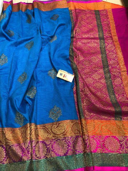 Pure handloom katan silk banarasi sarees with rich pallu and contrast blouse