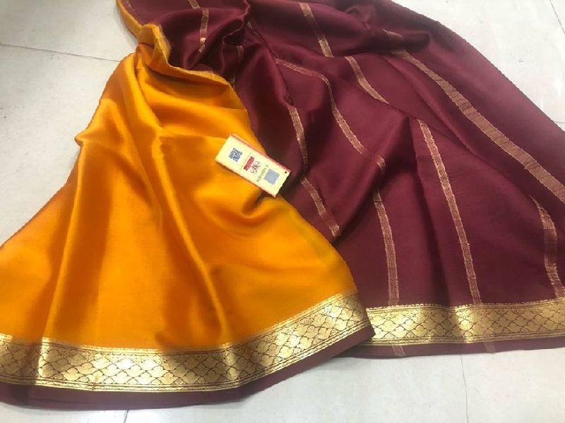 pure mysore silk crepe sarees with rich pallu and contrast blouse