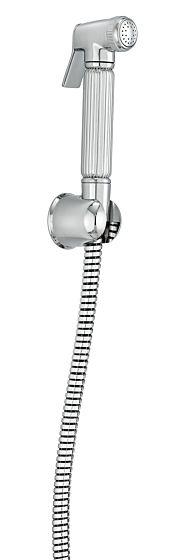 Brass shattaf with logo flex hose and wall bracket