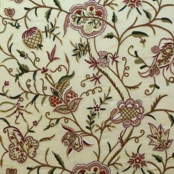 Baltal Crewel Work Hand Embroidered Organza Silk Fabric (NH # COS6)