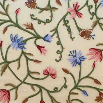 Butterfly Crewel Work Hand Embroidered Organza Silk Fabric (NH # COS4)