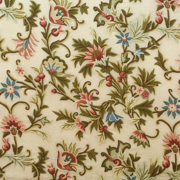 Chashma Crewel Work Hand Embroidered Organza Silk Fabric (NH # COS5)