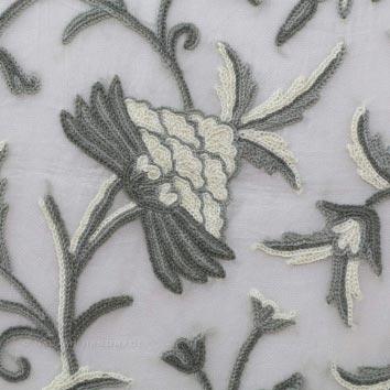 Danzdar Natural Crewel Hand Embroidered Organza Silk Fabric (NH #CO2)