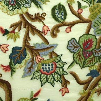 Gangbal Crewel Work Hand Embroidered Organza Silk Fabric (GC1)