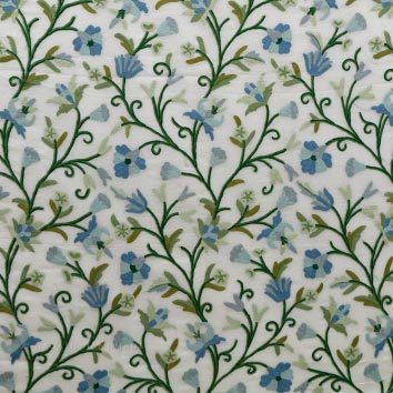 Pampore Crewel work Hand Embroidered Organza Silk Fabric (NH # COS9)