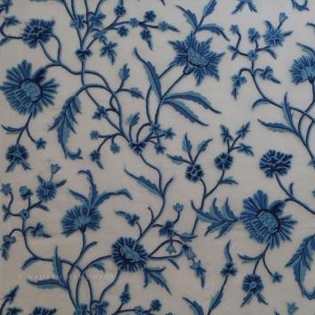 Shalimar Hand Embroidered Crewel Work Organza Silk Fabric (NH # COS3)