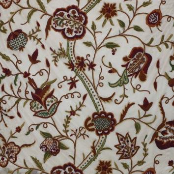 Watlab Hand Embroidered Crewel Work Organza Silk Fabric (NH # CSO4)