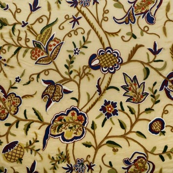 Woodmark Crewel work Hand Embroidered Organza Silk Fabric (NH # COS11)