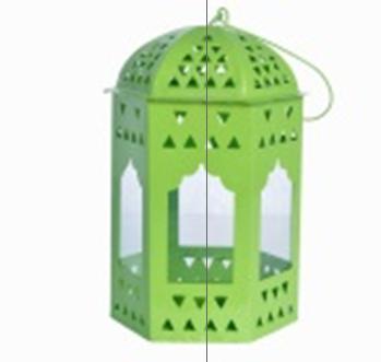 INS70004-Green Metal Cage Lantern (INS70004)