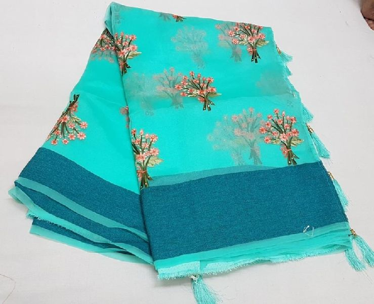 Pure glass tissue with cross stitch work sarees