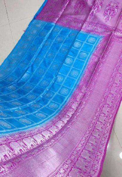 a38c049ad010d8 Pure Handloom Dupion Weaving Sarees with silver zari and contrast blouse