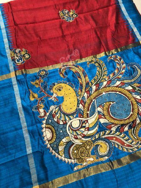 hand painted Pure handloom khadi silk sarees