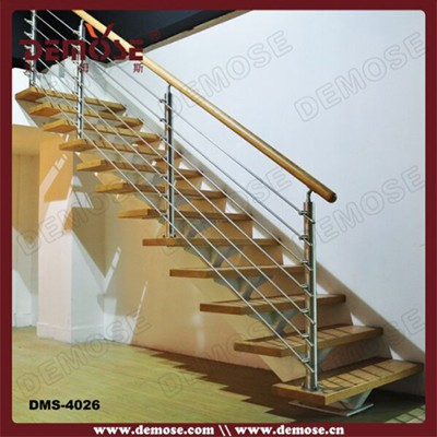 Inox Balustrade Wooden Straight Staircase