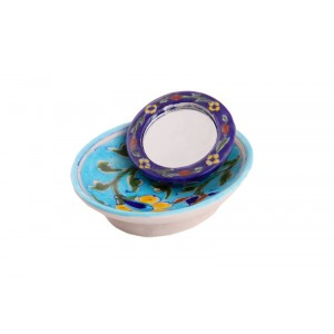 Deep Blue Pottery Hand Mirror
