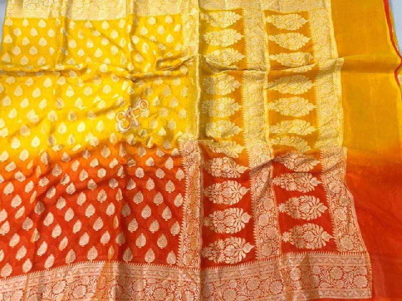 Shaded Color Combinations Handloom Khadi Georgette Sarees