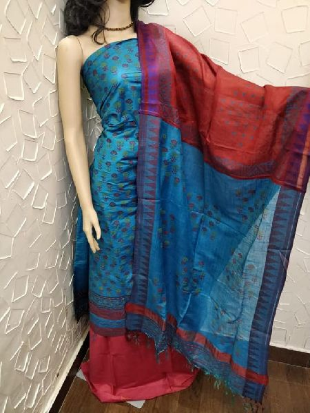 Katan cotton silk suits with weaved temple dupatta with patch work and block print