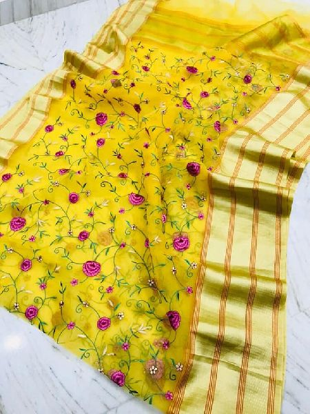Organza Silk Embroidery Sarees with running blouse