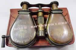 Antique Brass Folding Binocular with Leather Case