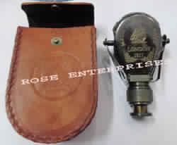 Antique Brass Single Opera Binocular with Leather Case