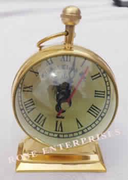 Brass Desktop Trophy Clock and Globe