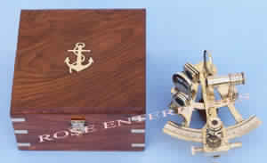 Brass Nautical Sextant with Wooden Box