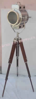 Chrome Floor Lamp Spot Light With Brown Tripod Stand