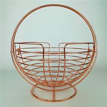 Round Copper Wire Mesh Fruit Vegetable Basket