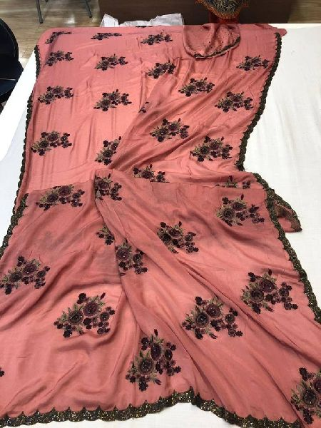CREPE FANCY SAREES WITH MATERIAL BLOUSE