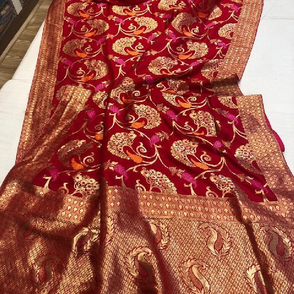 crepe silk weaving sarees with material blouse