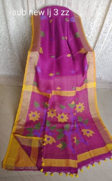 EXCLUSIVE PURE LINEN BY LINEN JAMDANI SAREES with THREAD WORK