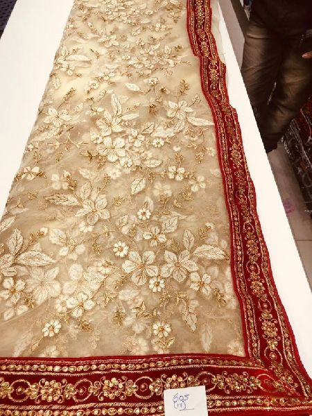 Net sarees with thread and moti work and velvet border with blouse piece