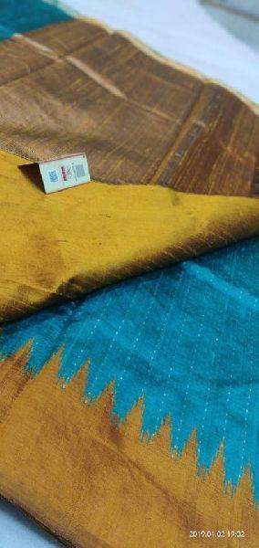 Raw silk silver and gold zari body sarees with contrast pallu