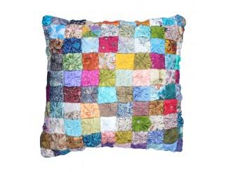 Silk Sari Flower Cushion Cover