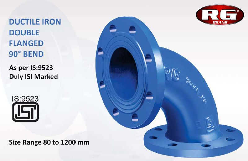 Blue Double Flanged 90 Degree Bend