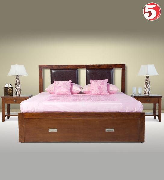 Modist Wooden Bed With Two Bedside
