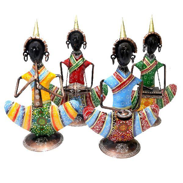 Iron musician Nepal figurines set of 4