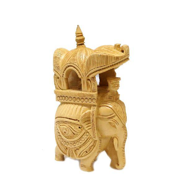 Wooden ambabari Elephant Showpiece