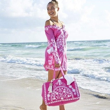 Full Sleeves Short Embroidery Matching Bag Beach Wear Tunic