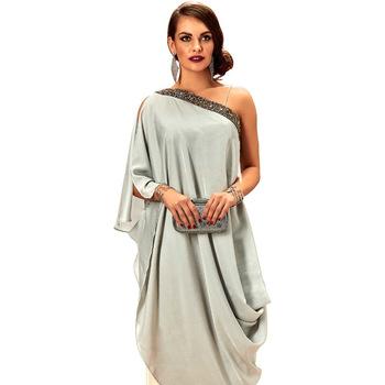Stitched Party Wear Grey Kurta Palazzo